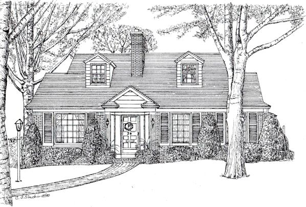 Radnor circle home portraits house portraits commissioned home art house renderings homes Draw your house